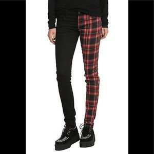 ROYAL BONES Split Leg Black Red Plaid Skinny Jeans
